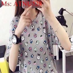 Áo thun nữ ngắn tay hình chú cú màu sắc nổi bật ATNU528