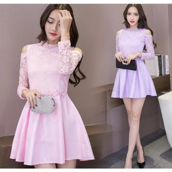 Đầm xòe phối ren thời trang cao cấp 2016 - E530