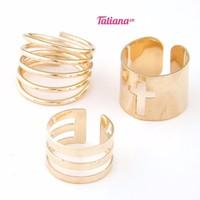 TATIANA - NHẪN MIDI RING MIX CHỮ THẬP MÀU VÀNG N2071