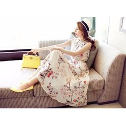 Hàng Nhập - Đầm Vintage Họa Tiết Cành Hoa