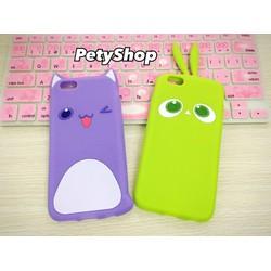 Ốp mèo tím thỏ xanh iPhone 5 5S SE 6 6S 6Plus 6SPlus