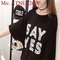 Áo thun nữ ngắn tay in chữ SAY YES phong cách thời trang ATNU526