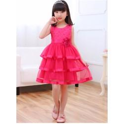 Đầm công chúa 3 tầng màu hồng 3-4 tuổi