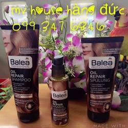 Bộ gội xả dưỡng. Tinh chất balea oil repair cho tóc chẻ ngọn khô gãy