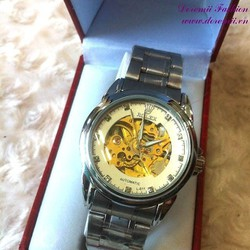 Đồng hồ cơ inox Ro đính hột đẳng cấp sang trọng DHDT134