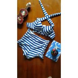 Bikini sọc xanh thời trang