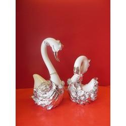 Thiên nga lông nhũ bạc 5167- 2  cao 24 cm rộng 13 cm