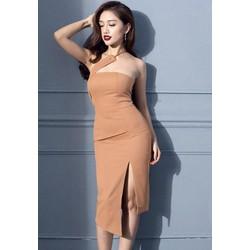 Đầm xẻ tà ôm bodythiết kế cúp ngực lệch vai tuyệt đẹp M3995