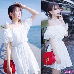 Đầm ren xòe trể vai xinh xắn