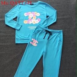 Sét thể thao nữ dài tay in họa tiết hoa CN sành điệu QATT348