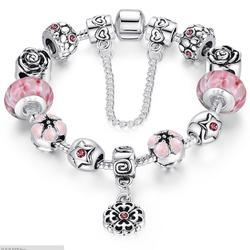 Vòng tay bạc nạm đá hồng -  VT01833