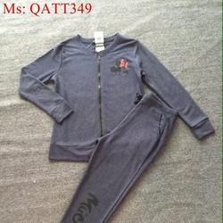 Sét thể thao nữ áo kéo khóa in logo mickey phối quần dài QATT349
