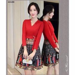 Đầm đỏ tung xòe họa tiết