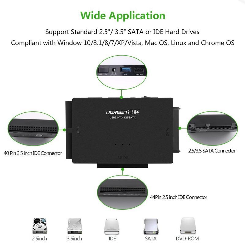 Cáp chuyển đổi USB 3.0 sang SATA + IDE chính hãng Ugreen 30353 5