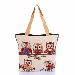 Túi xách thời trang thổ cẩm họa tiết chim cú cao cấp Hoian Gifts