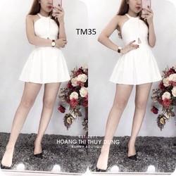 Đầm trắng xoè khoét bụng Bunny