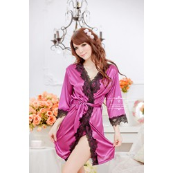 Đầm ngủ khoác phi bóng viền ren - Giá Cực Sốc