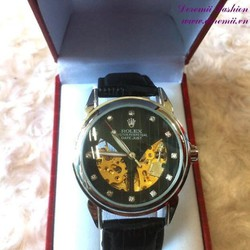 Đồng hồ cơ dây da Ro đính hột đẳng cấp sang trọng DHDT127