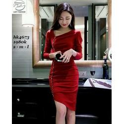 HÀNG NHẬP CAO CẤP - Đầm body cổ xéo tay dài nhúng tà xéo