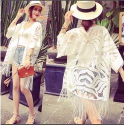 Áo khoác choàng kimono ren tua rua