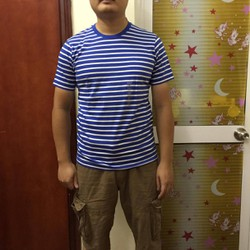 Áo phông nam Tshirt kẻ xanh