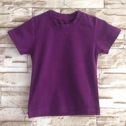 at106 [10-26kg] Áo thun cotton 4 chiều trơn màu tím