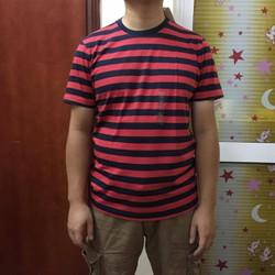 Áo phông nam Tshirt kẻ đỏ