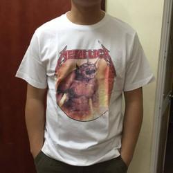 Áo phông nam Tshirt meta trắng