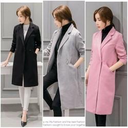 có size XXL - Áo khoác dạ nữ form dài cổ vest thu đông hàng nhập