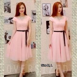 HOT! Đầm hồng phối ren cao cấp kèm dây đeo