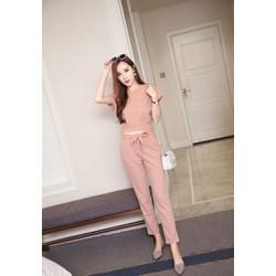 Hàng nhập-Set áo croptop +quần thắt nơ