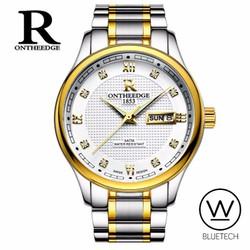 Đồng hồ nam R Ontheedge Mặt Trắng - Dây Sọc Vàng