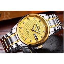 Đồng hồ nam R Ontheedge Mặt Vàng - Dây Sọc Vàng