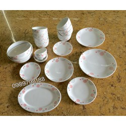 bộ đồ ăn bát đĩa gốm sứ Bát Tràng