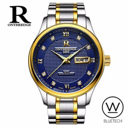 Đồng hồ nam R Ontheedge Mặt Xanh - Dây Sọc Vàng
