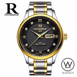 Đồng hồ nam R Ontheedge Mặt Đen - Dây Sọc Vàng