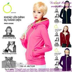 Áo khoác nỉ nữ có nón dây kéo màu trẻ trung năng động AKNI48