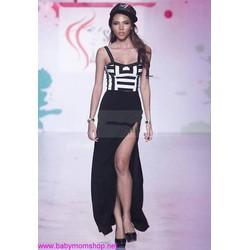 Chân váy đen dài xẻ bên đùi sành điệu cv20