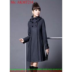 Áo khoác dạ nữ kiểu hàn quốc đính nút sành điệu duyên dáng