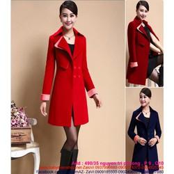 Áo khoác dạ thu đông form dài phối màu phong cách sành điệu