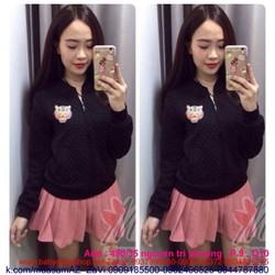 Áo khoác da nữ dài tay thêu logo kenzo nổi bật AKNU269