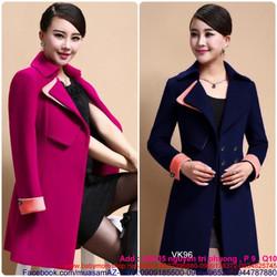 Áo khoác nữ form dài thiết kế phối viền bên sành điệu trẻ trung