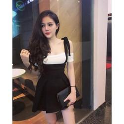 Áo váy kiểu áo hở vai váy xòe cột dây