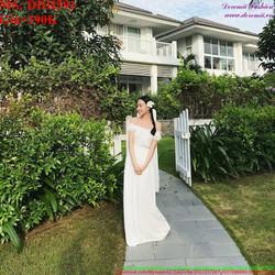 Đầm cô dâu trắng bẹt vai xinh đẹp và sang trọng