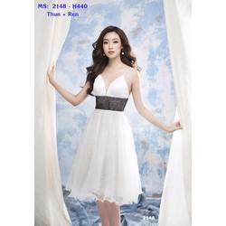 Đầm Xòe Hai Dây Phối Ren Dễ Thương