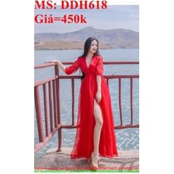 Đầm maxi đi biển màu đỏ sang trọng xẻ đùi quyến rũ