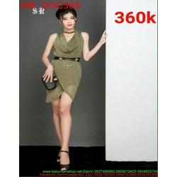 Đầm ôm công sở cổ đổ xẻ chéo tà thời trang sang trọng DOC569