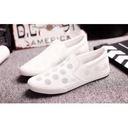 Giày nam thời trang , lỗ đen trắng