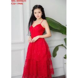 Đầm dự tiệc 2 dây xếp tầng màu đỏ nổi bật sang trọng