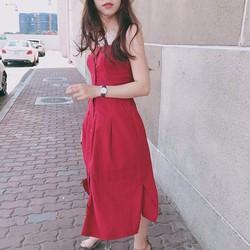 Đầm Maxi Sơ Mi Hai Dây Xẻ Tà